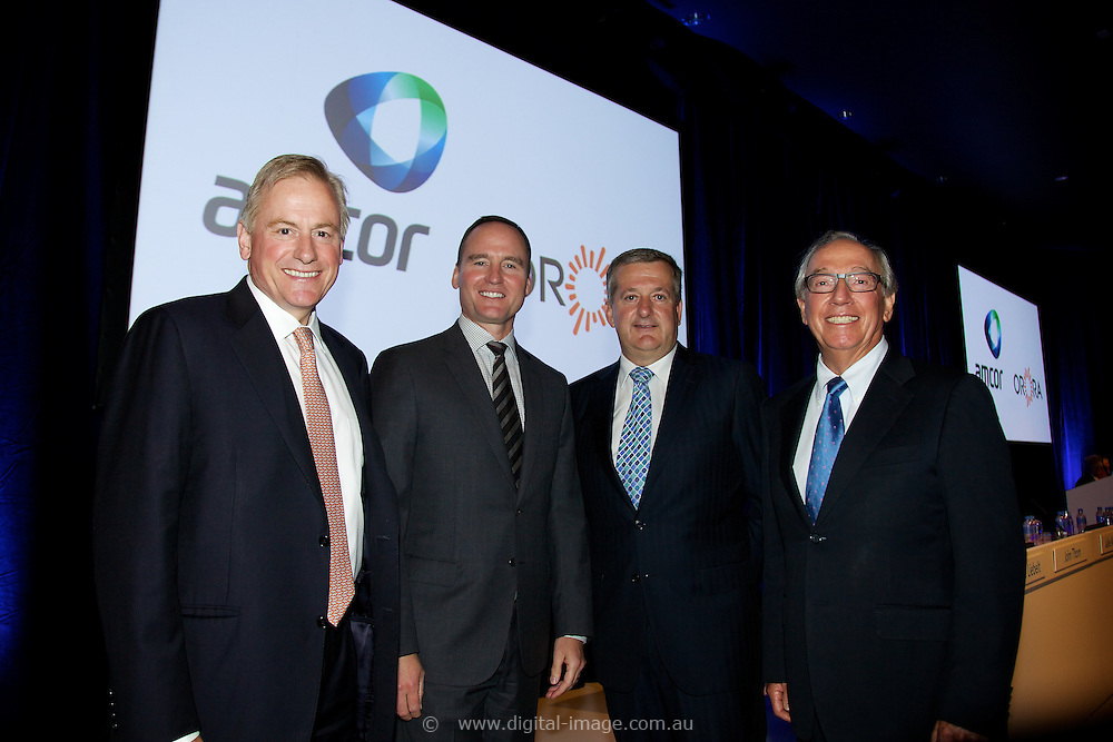 Amcor EGM and GM to discuss and vote on the demerger of Amcor and Orora. At the Melbourne Convention and Exhibition Centre. New Amcor Chairman Graeme Liebelt, CEO Amcor Ken MacKenzie, CEO Orora Nigel Garrard, Out going Amcor<br />