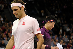 November 3, 2018 - Paris, France - Japanese player KEI NISHIKORI returns the ball to Swiss player ROGER FEDERER during the quarter final of tournament Rolex Paris Master, at AccorHotel Arena Stadium in Paris - France..Roger Federer won 6-4 6-4. (Credit Image: © Pierre Stevenin/ZUMA Wire)