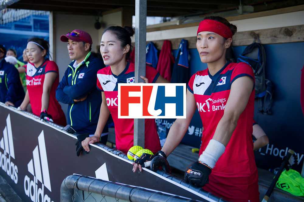 AUCKLAND - Sentinel Hockey World League final women<br /> Match id: 10303<br /> 13 GER v KOR (QF) 3-3<br /> Korea in to semi after shoot out.<br /> Foto:  Korean bench.<br /> WORLDSPORTPICS COPYRIGHT FRANK UIJLENBROEK