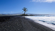 Keawaiki Bay, Black Sand Beach, Kohala Coast, Island of Hawaii