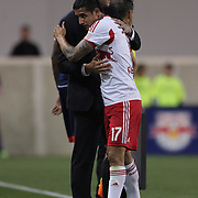Tim Cahill, New York Red Bulls, hugs coach Mike Petke after being substituted during the New York Red Bulls V New England Revolution, Major League Soccer regular season match at Red Bull Arena, Harrison, New Jersey. USA. 20th April 2013. Photo Tim Clayton