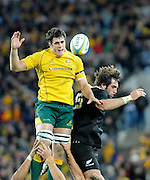 Dave Dennis gathers in the ball for the Wallabies, Rugby Championship. Australia v All Blacks at ANZ Stadium, Sydney, New Zealand. Saturday 18 August 2012. New Zealand. Photo: Richard Hood/photosport.co.nz