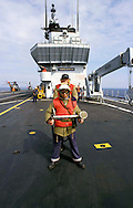 "The Italian aircraft carrier  ""G. Garibaldi"" ..Fireproof  service on bridge of flight......"