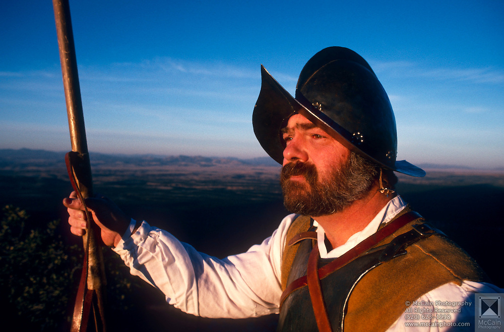 Historian Bob Munson in replica of Conquistador clothing, Coronado National Monument, Arizona..Subject photograph(s) are copyright Edward McCain. All rights are reserved except those specifically granted by Edward McCain in writing prior to publication...McCain Photography.211 S 4th Avenue.Tucson, AZ 85701-2103.(520) 623-1998.mobile: (520) 990-0999.fax: (520) 623-1190.http://www.mccainphoto.com.edward@mccainphoto.com