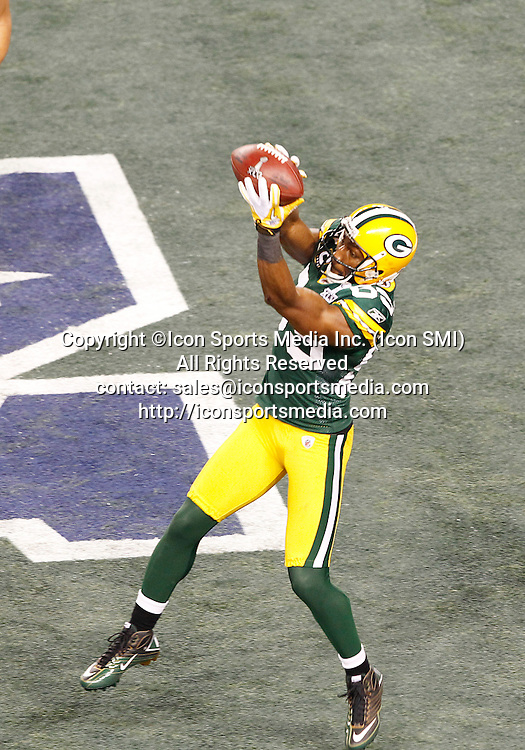 February 6, 2011: Green Bay Packers WR Greg Jennings #85 catches the ball for a touchdown during the fourth quarter of the Pittsburgh Steelers game versus the Green Bay Packers in Super Bowl XLV at Cowboys Stadium in Arlington, Texas.***FOR EDITORIAL USE ONLY****