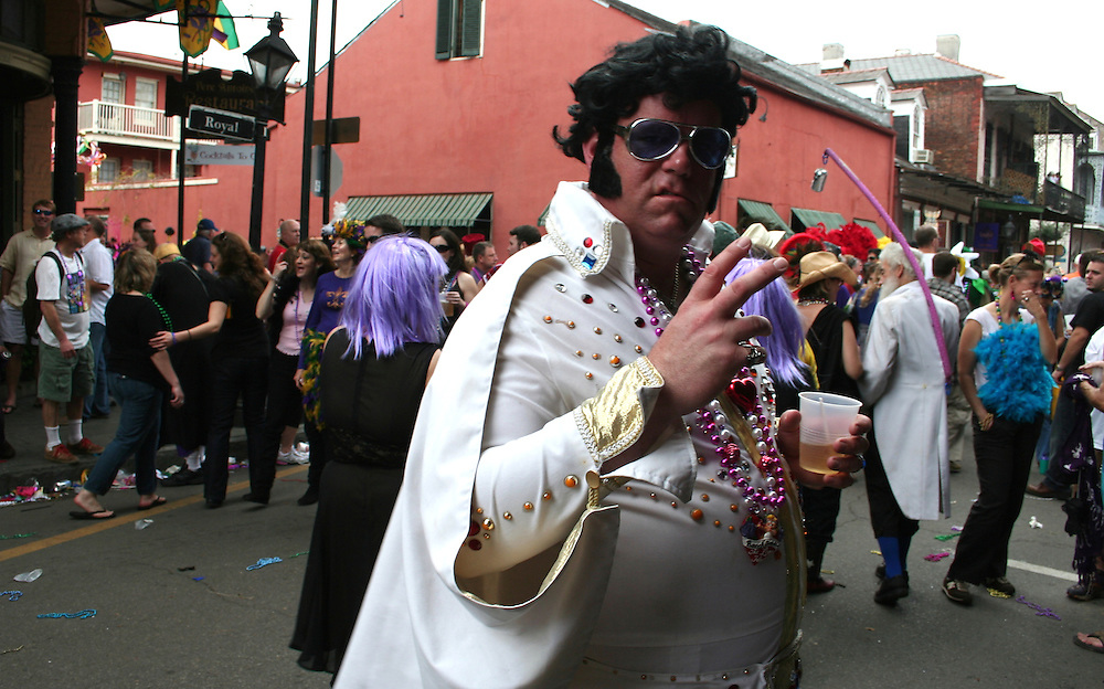 Elvis at Mardi Gras, Royal St., New Orleans 2008