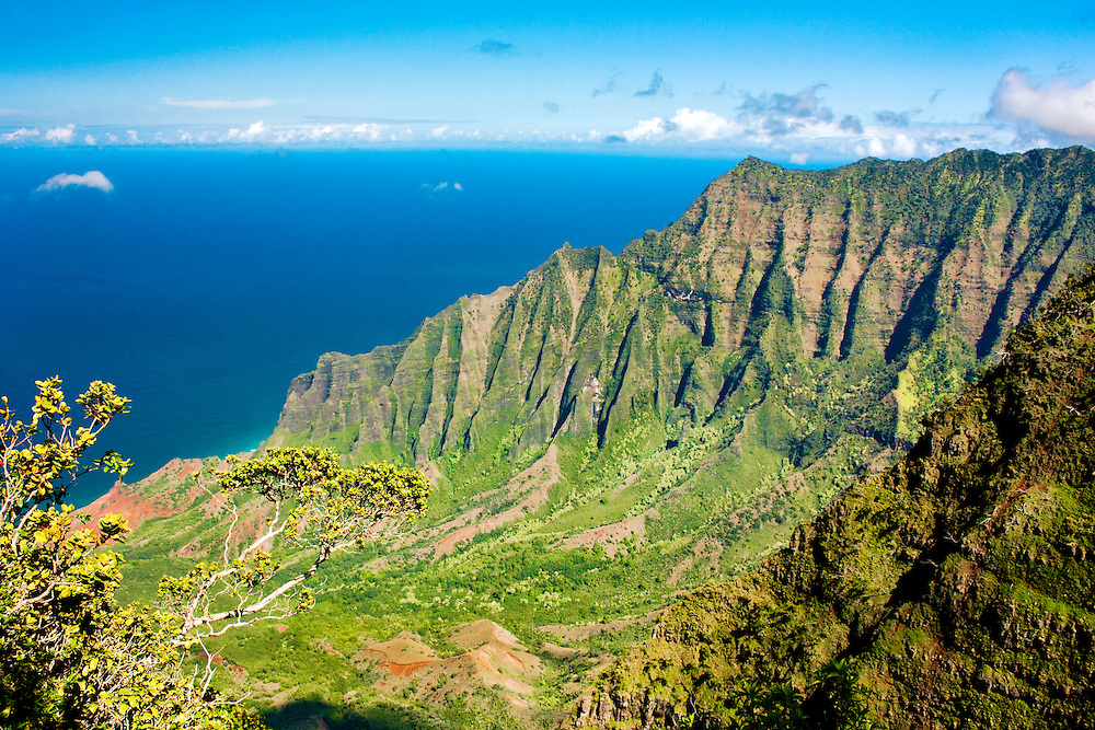 The view of Kalalau Valley from Kalalau Lookout on the island of Kauai, Hawaii
