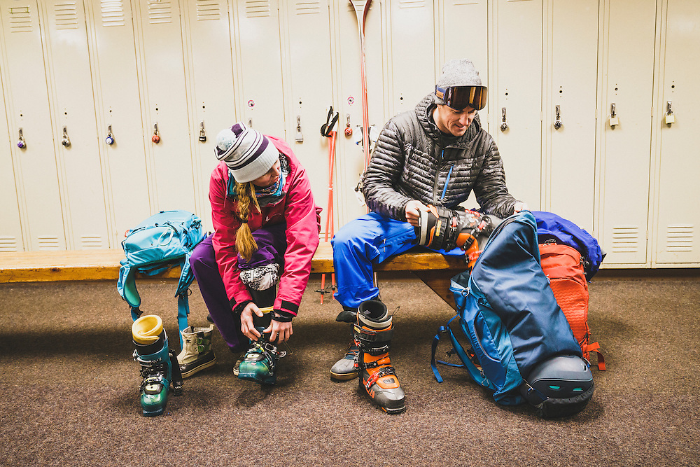 Rob Aseltine and Mali Noyes gearing up for a day of skiing inside the Brighton Center, Brighton, Utah.