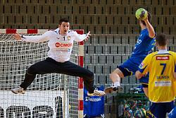 Dusan Podpecan  of Cimos Koper  during handball match between RK Cimos Koper and RK Celje Pivovarna Lasko of NLB Leasing Prva Liga in season 2011/2012, on February 22, 2012 in Sports hall Bonifika,  Koper, Slovenia. (Photo By Vid Ponikvar / Sportida.com)