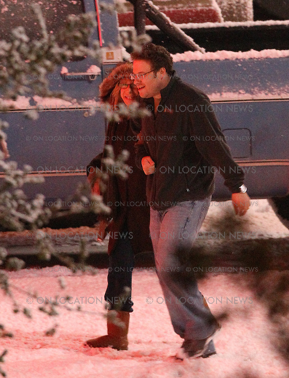 """***EXCLUSIVE*** Barbra Streisand & Seth Rogen film a funny scene in the fake Hollywood snow. In this scene Barbra and Seth are suppose to be driving through a snowy Tennessee when they encounter car  trouble with their rental car. After pulling into a parking lot to check out the car, Barbra mistakenly misreads a strip club's  """"TOPLESS"""" sign as Tapes because the """"L"""" is burned out and her eyesight is poor. Against Seth's wishes Barbra insist they go in for some Tapes food. Later a Stripper  helps them out with their car. May 20th  2011 Valencia, CA.  Photo by Eric Ford/ On Location News  818-613-3955  info@onlocationnews.com"""