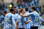 Coventry players congratulate Coventry City Midfielder James Maddison during the Sky Bet League 1 match between Coventry City and Bury at the Ricoh Arena, Coventry, England on 13 February 2016. Photo by Chris Wynne.