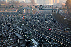 © Licensed to London News Pictures. 02/12/2019. London, UK. Empty tracks at Clapham Junction during the hight of the rush hour as commuters queue on platforms on the first day of the South Western Railway strike. RMT union have announced industrial action which will effect South Western Railway services for the next 27 days, until 02 January 2020. Photo credit: Alex Lentati/LNP