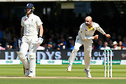 Nathan Lyon of Australia bowling with Ben Stokes of England watching on during the International Test Match 2019 match between England and Australia at Lord's Cricket Ground, St John's Wood, United Kingdom on 18 August 2019.