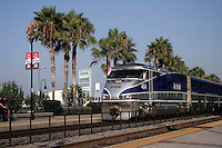 28 July 2005:  Amtrak SurfLiner train from Anaheim to Santa Barbara, CA.  Amtrak railroad coastal route in Southern California.