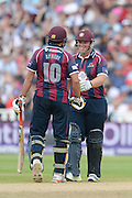 Ricahrd Levi and Shahid Afridi during the NatWest T20 Blast semi final match between Northamptonshire County Cricket Club and Warwickshire County Cricket Club at Edgbaston, Birmingham, United Kingdom on 29 August 2015. Photo by David Vokes.