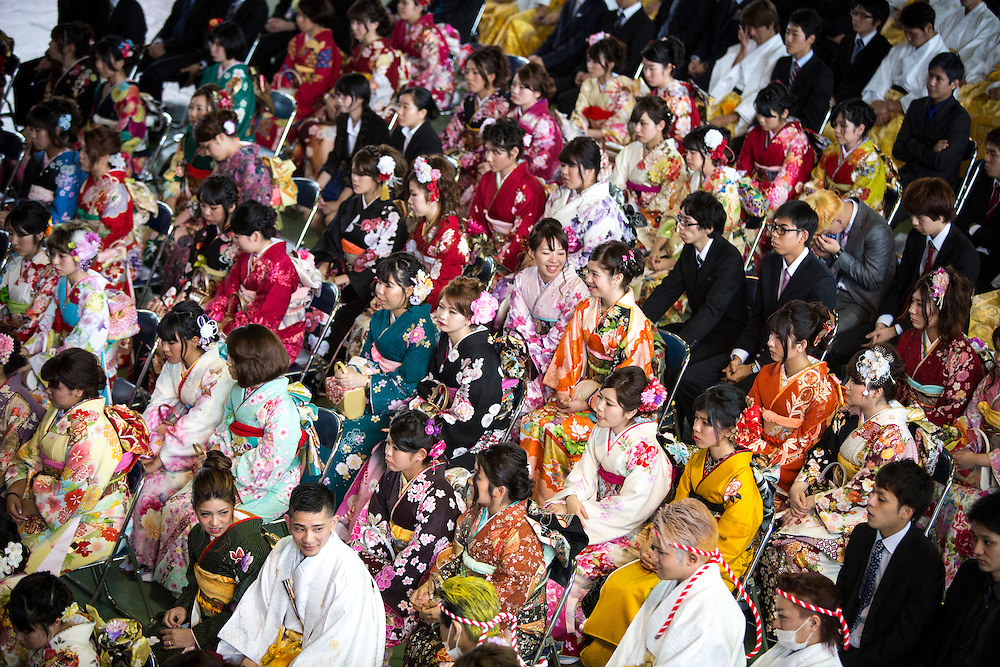 OKINAWA, JAPAN - JANUARY 8 : New adults in kimonos attend a Coming of Age Day celebration ceremony in Shuri Junior High School in Okinawa, Japan on January 8, 2017. The Coming of Age Day, one of the Japanese national holidays, is the day to celebrate young people who have reached the age of 20, the age of maturity in Japan, when they are legally permitted to smoke, drink alcohol and vote. (Photo by Richard Atrero de Guzman/NURPhoto)