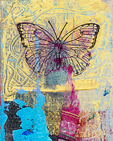 Mixed medium art work of a butterfly. Gel medium transfer on acrylic.<br />