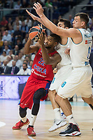 Real Madrid Facundo Campazzo and Jonas Maciulis and CSKA Moscu Cory Higgins during Turkish Airlines Euroleague match between Real Madrid and CSKA Moscu at Wizink Center in Madrid, Spain. October 19, 2017. (ALTERPHOTOS/Borja B.Hojas)