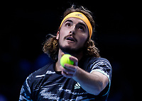 Tennis - 2019 Nitto ATP Finals at The O2 - Day Seven<br /> <br /> Semi Finals: Stefanos Tsitsipas (Greece) Vs. Roger Federer (Switzerland) <br /> <br /> Stefanos Tsitsipas (Greece) serves <br /> <br /> COLORSPORT/DANIEL BEARHAM<br /> <br /> COLORSPORT/DANIEL BEARHAM
