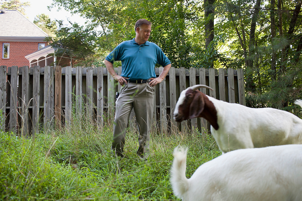 Homeowner Steve Holdaway takes his first look at a herd of goats he hired through Rent-A-Goat to clear a lot-side easement behind his home in Chapel Hill, N.C., Thurs., July 22, 2010. Holdaway is currently developing his own solar energy business and felt compelled to invest in other local sustainable businesses.  ..D.L. Anderson for The Wall Street Journal..GOATS