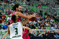 Dirk Modrich of Telekom Baskets Bonn and Zack Wright of Union Olimpija during basketball match between KK Union Olimpija Ljubljana and Telekom Baskets Bonn (GER) in Round 3 of EuroCup 2015/16, on October 28, 2015 in Arena Stozice, Ljubljana, Slovenia. Photo by Matic Klansek Velej / Sportida.com