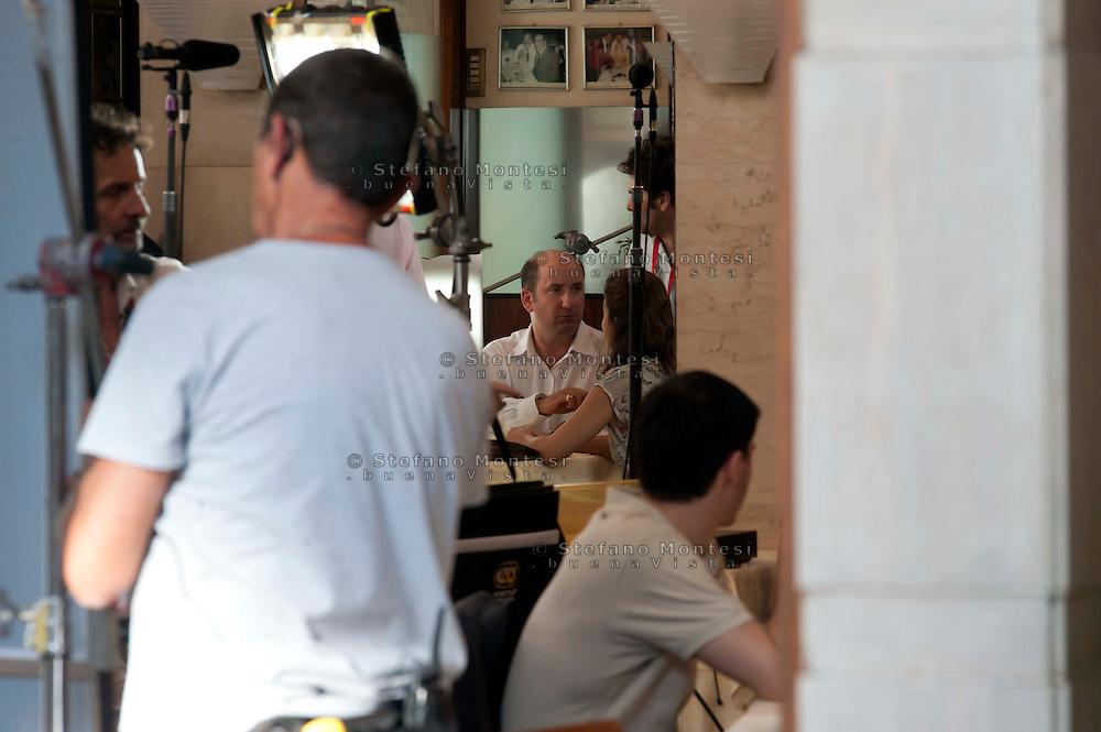 Roma 11 Luglio 2011.Antonio Albanese nel cast  del film The Bob Decameron di Woody Allen,  durante una scena.