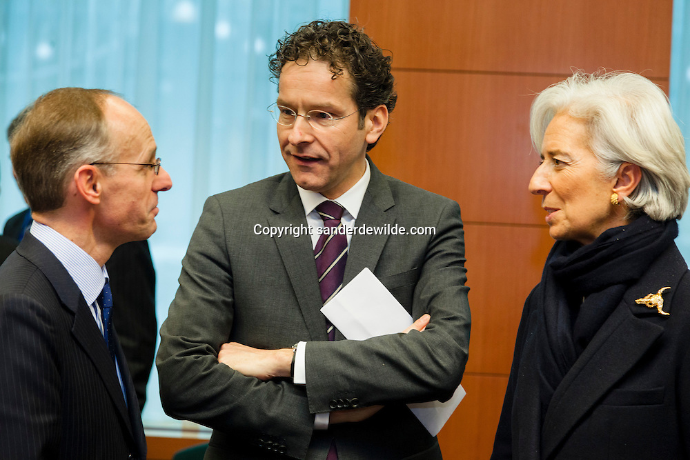 (From L) Luxembourg's Finance Minister Luc Frieden talks to Dutch Finance Minister and President of the Eurogroup Council Jeroen Dijsselbloem and International Monetary Fund (IMF) Managing Director Christine Lagarde before an Eurogroup Council meeting on February 11, 2013 at the European Union Headquarters in Brussels. Dijsselbloem holds his first eurozone meeting today, with Cyprus and Greece on the agenda.