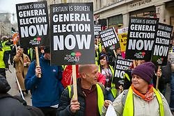 © Licensed to London News Pictures. 12/01/2019. London, UK. Thousands of people many in yellow vest take part in a demonstration organised by People's Assembly Against Austerity by marching in London and rallying in Trafalgar Square calling for a General Election. Photo credit: Dinendra Haria/LNP