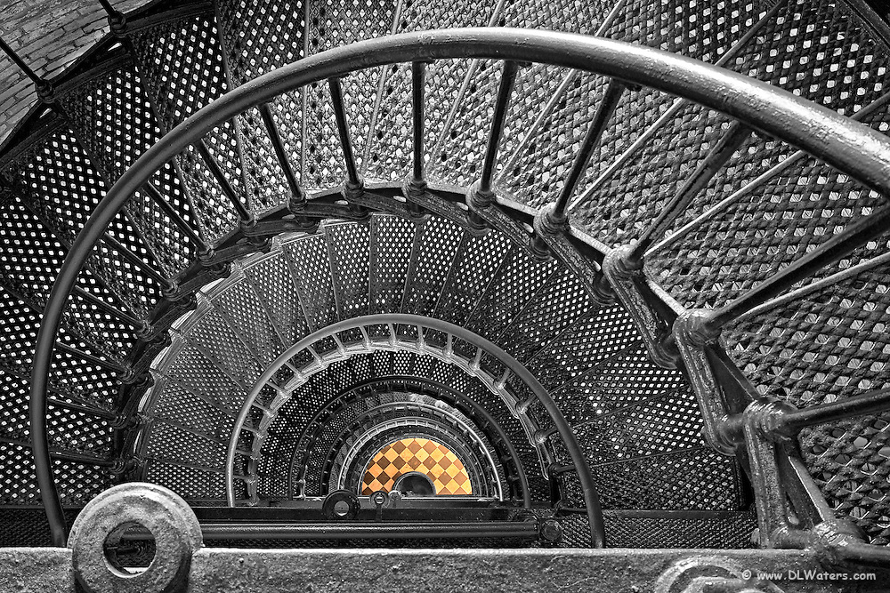 Looking down the spiral steps of  Currituck Beach lighthousee  along Corolla NC coast.
