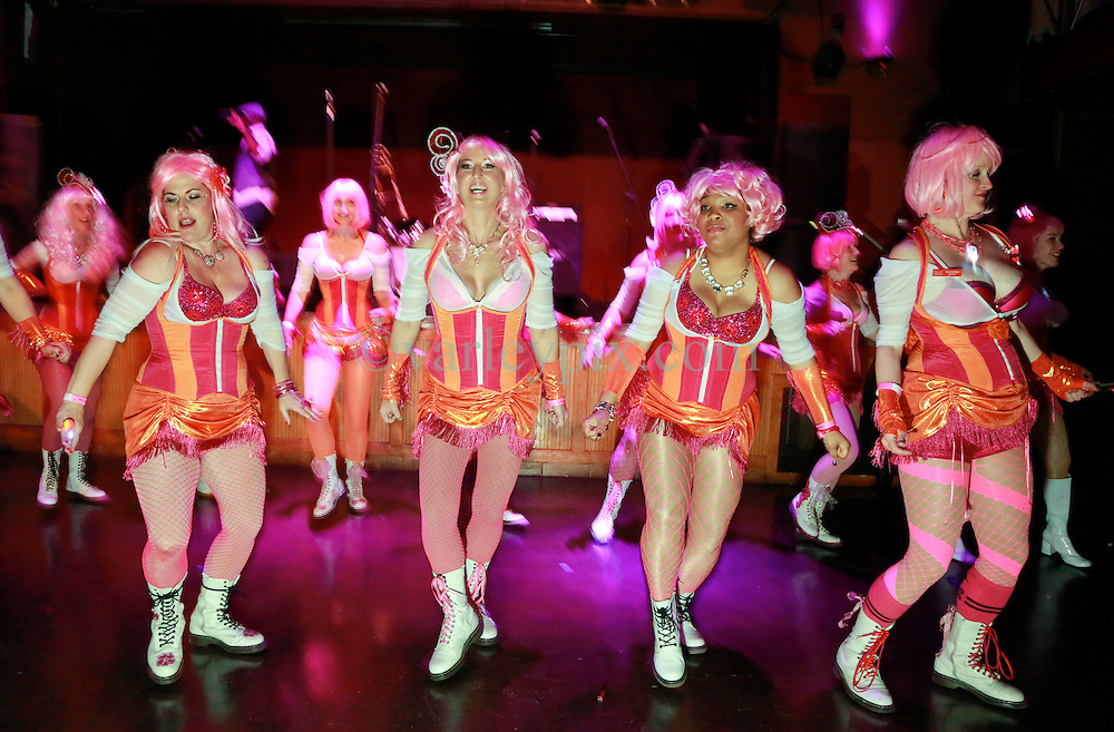09 January 2015. New Orleans, Louisiana. <br /> The 2015 Pussyfooters Blush Ball at Generations Hall. New Orleans' premier dance troupe raising thousands of dollars for good causes.<br /> Photo; Charlie Varley/varleypix.com