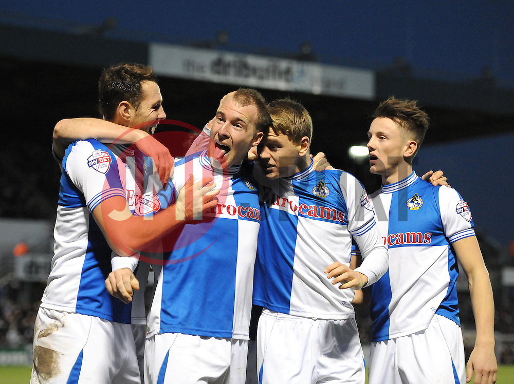 Bristol Rovers' David Clarkson celebrates with team mates - Photo mandatory by-line: Joe Meredith/JMP - Tel: Mobile: 07966 386802 21/12/2013 - SPORT - FOOTBALL - Memorial Stadium - Bristol - Bristol Rovers v Portsmouth - Sky Bet League Two