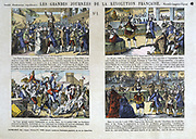 Great Days of the French Revolution, 1789: No 1. Top: Tennis Court Oath.  Mirabeau and the Master of Ceremonies .  Bottom: Attack on Bastille. The Night of 4 August. Popular French colured print.