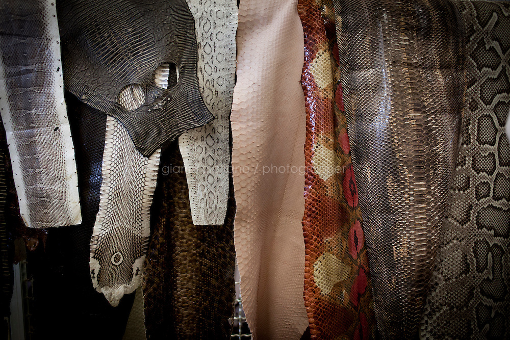 SANT'ELPIDIO A MARE, ITALY - MAY 20: Various types of snail leathers are here at the factory of the Tod's headquarters in Sant'Elpidio a Mare (FM, Marche), Italy, on May 20, 2011. The Tod's headquarters was designed by Della Valle's wife Barbara Pistilli and was inaugurated in 1998. Tod's Group is an Italian company which produces shoes and other leather goods, and is presided over by businessman Diego Della Valle. It is most famous for its driving shoes.<br /> <br /> Gianni Cipriano for Le Monde
