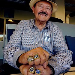 Los Angeles Dodgers' scout Mike Brito wearing his three world series rings and scout of the year ring during a workout prior to the upcoming World Series on Tuesday at Dodger Stadium on Sunday, Oct. 22, 2017 in Los Angeles. (Photo by Keith Birmingham, Pasadena Star-News/SCNG)