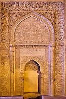 Iran, province d'Ispahan, Ispahan, Mosquée du Vendredi, classée Patrimoine Mondial de l'UNESCO, mihrab en stuc et avec des écritures coraniques // Iran, Isfahan, Friday mosque, world heritage of the UNESCO, stucco mihrab with Quranic inscriptions