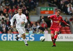 LIVERPOOL, ENGLAND - SUNDAY MARCH 27th 2005: Liverpool Legends' Paul Walsh and Celebrity XI's Shane Ritchie during the Tsunami Soccer Aid match at Anfield. (Pic by David Rawcliffe/Propaganda)