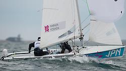 2012 Olympic Games London / Weymouth<br /> 470 Training race<br /> Makino Yukio, Takahashi Kenji, (JPN, 49er)