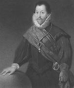 Francis Drake (c1540-1596) English navigator and privateer.  Engraving.