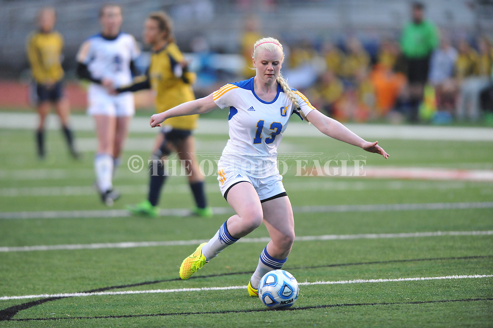 Oxford High's Nicole Hayward (13) vs. Pearl in girls high school soccer in Oxford, Miss. on Wednesday, November 26, 2014. Oxford won 3-0.