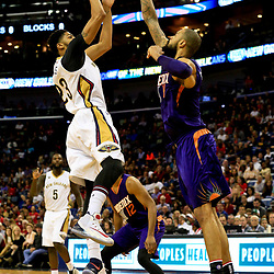 Nov 4, 2016; New Orleans, LA, USA; New Orleans Pelicans forward Anthony Davis (23) shoots over Phoenix Suns center Tyson Chandler (4) during the second quarter of a game at the Smoothie King Center. Mandatory Credit: Derick E. Hingle-USA TODAY Sports