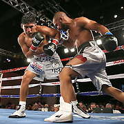 Ricardo Rodriguez (L) squares off against Jonathan Vidal during a Telemundo Boxeo boxing match at the A La Carte Pavilion on Friday,  March 13, 2015 in Tampa, Florida.  Rodriguez won the bout. (AP Photo/Alex Menendez)