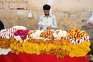 A man selling garlands of flowers outside a temple in Jaipur, Rajasthan, India