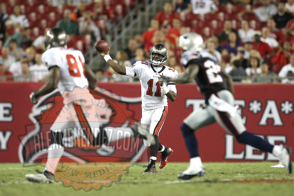 Tampa Bay Quarterback Josh Johnson (11) passes the ball to Wide Receiver Michael Spurlock (81) during an NFL football game between the New England Patriots and the Tampa Bay Buccaneers at Raymond James Stadium on Thursday, August 18, 2011 in Tampa, Florida.   (Photo/Alex Menendez)
