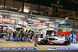 June 18, 2017 - Le Mans, Sarthe, France - Porsche LMP Team Porsche 919 Hybrid rider TIMO BERNHARD in the pit lane for refueling during the race of the 24 hours of Le Mans on the Le Mans Circuit - France (Credit Image: © Pierre Stevenin via ZUMA Wire)