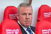 Manager of Portsmouth FC, Kenny Jackett watches his team warm up before the EFL Sky Bet League 1 match between Sunderland and Portsmouth at the Stadium Of Light, Sunderland, England on 17 August 2019.