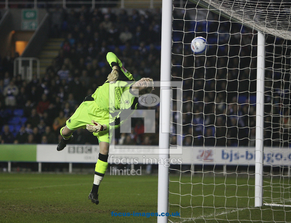 Reading - Tuesday January 27th, 2009: Wolverhampton Wanderers goalkeeper Wayne Hennessey can only watch as the own goal from Neill Collins loops over him and in to the net against Reading during the Coca Cola Championship match at The Madjeski Stadium, Reading. (Pic by Chris Ratcliffe/Focus Images)