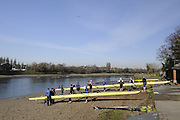 Chiswick. London. Tideway boathouse,  Mortlake Anglian and Alpha Club and Quintin BC.  looking from the foreshore. 2011 Women's Head of the River Race, Mortlake to Putney, over the  Championship Course.Taken from Chiswick Bridge.  Saturday  19/03/2011 [Mandatory Credit, Peter Spurrier/Intersport-images]
