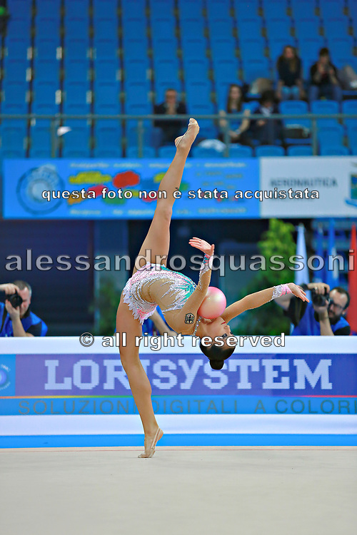 Berezko Jana during qualifying at ball in Pesaro World Cup 10 April 2015.<br /> Jana is a German individual rhythmic gymnast of  Russian origin, born on October 17, 1995 in Tolyatti, Russia.