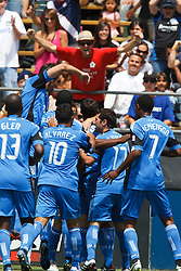 August 21, 2010; Santa Clara, CA, USA;  The San Jose Earthquakes celebrate after a goal by forward Chris Wondolowski (middle) during the first half against the Los Angeles Galaxy at Buck Shaw Stadium.