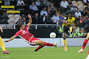 Burton Albion forward Lucas Akins (10) shoots at goal during the EFL Cup match between Burton Albion and Morecambe at the Pirelli Stadium, Burton upon Trent, England on 27 August 2019.